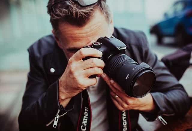 Professional photographer taking picture