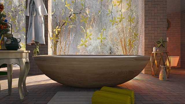 Designer bath tub in bathroom