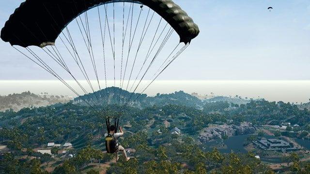 Player landing through parachute