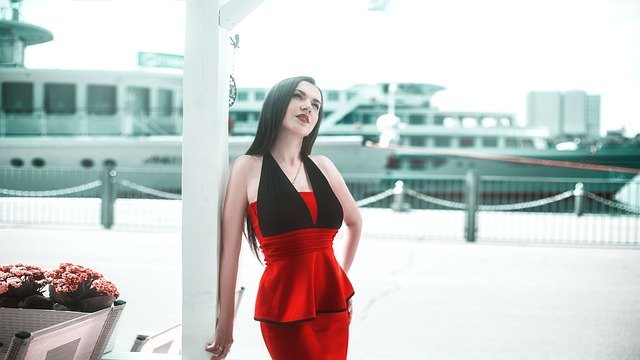 model in red dress after colour analysis